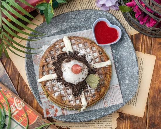 大福莓果抹茶鬆餅 Matcha Raspberry Cream With Mochi Waffles